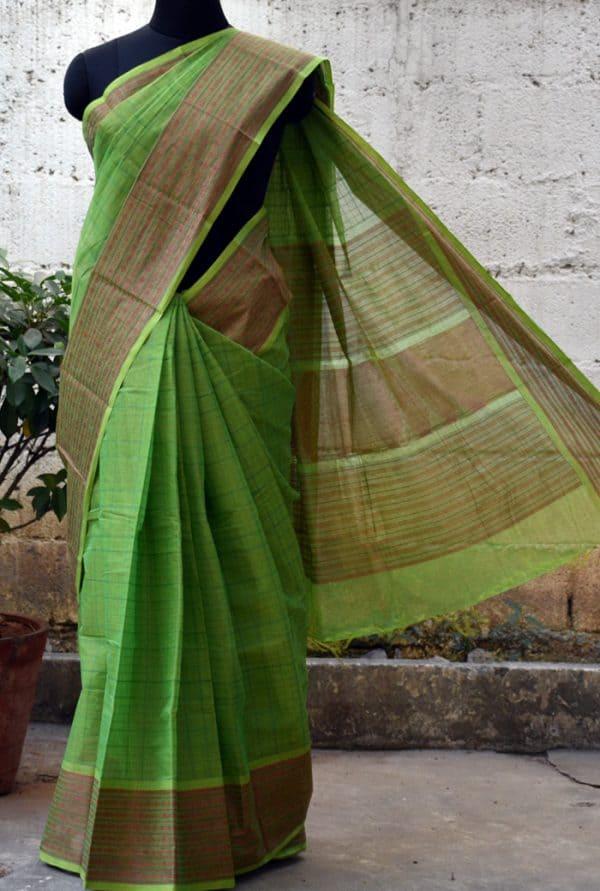 Parrot green kanchi cotton saree -0