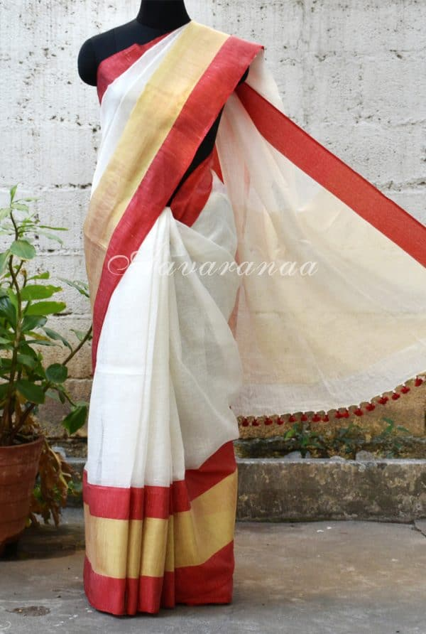 White and red long border linen Saree-0