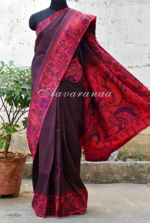 Wine brown kalamkari kanchi silk saree-0