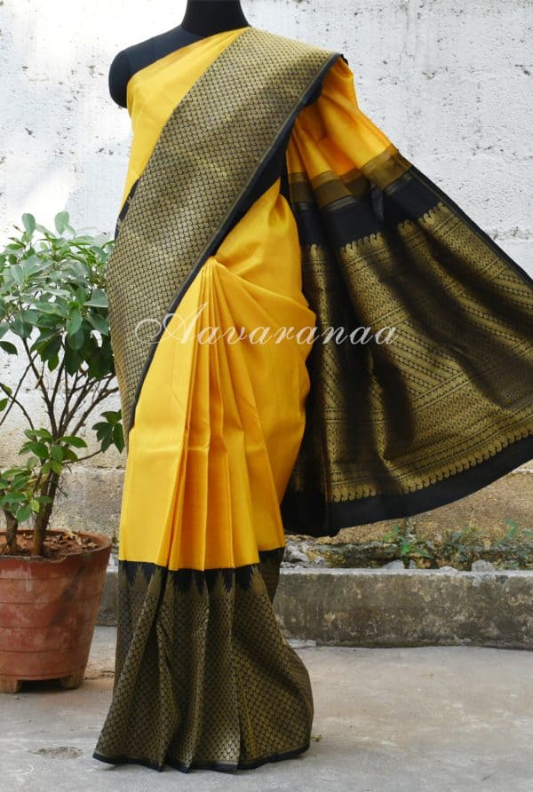 Yellow kanchi silk saree with black border-0