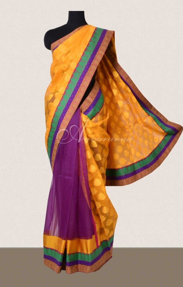 Yellow and purple supernet saree-0