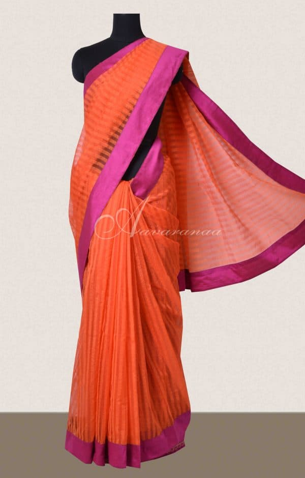 Orange and pink semi organza saree-0