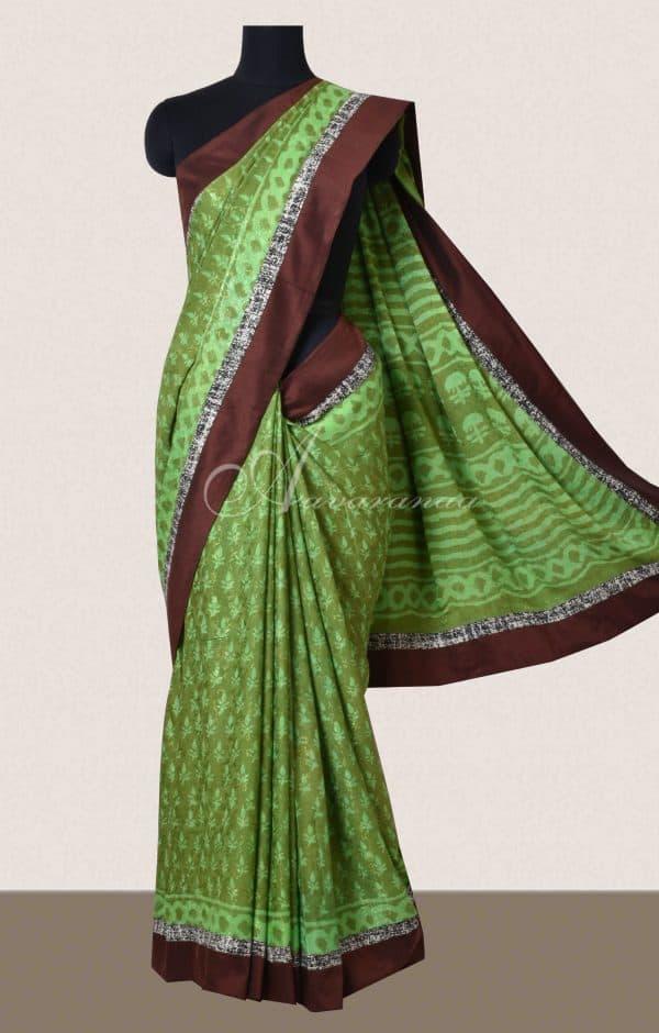 Green and brown crepe saree-0
