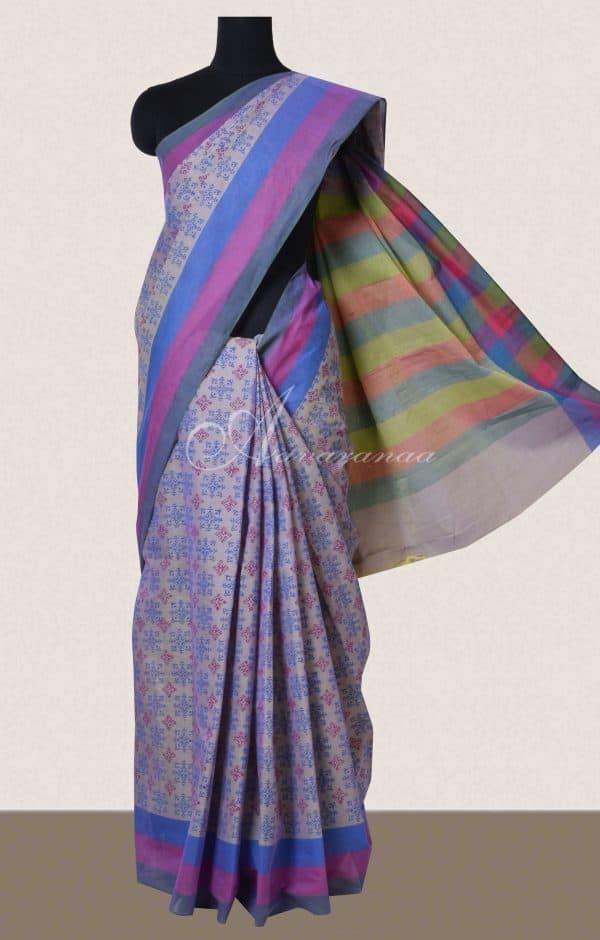 Lavender colour block printed cotton saree-0