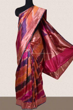 Multi color lehariya style woven banarus saree -0