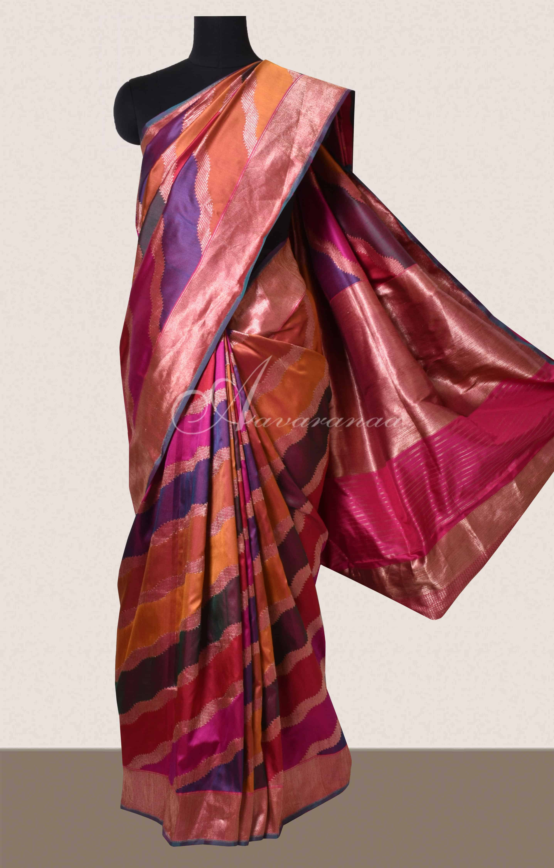 723243c839 Saree Multi color lehariya style woven banarus saree Sale Online ...