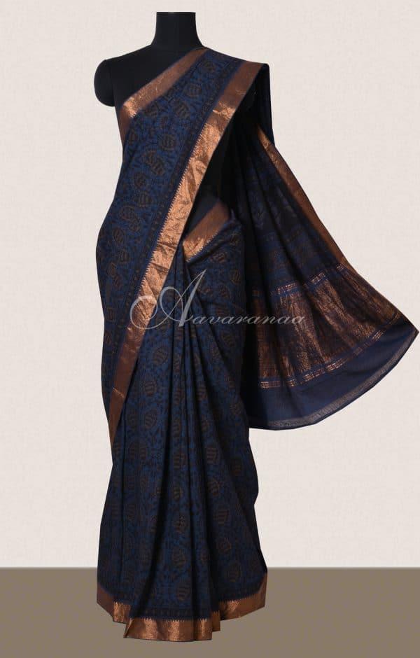 Midnight blue block printed maheshwari saree -0