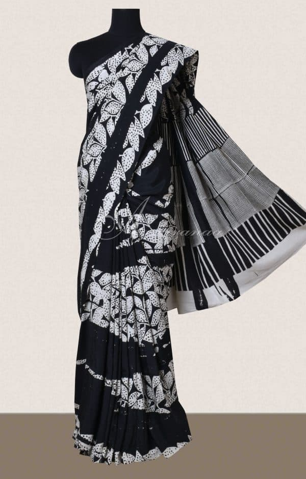Black and white block printed silk-0
