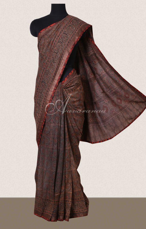 Brown ajrak printed cotton saree-0