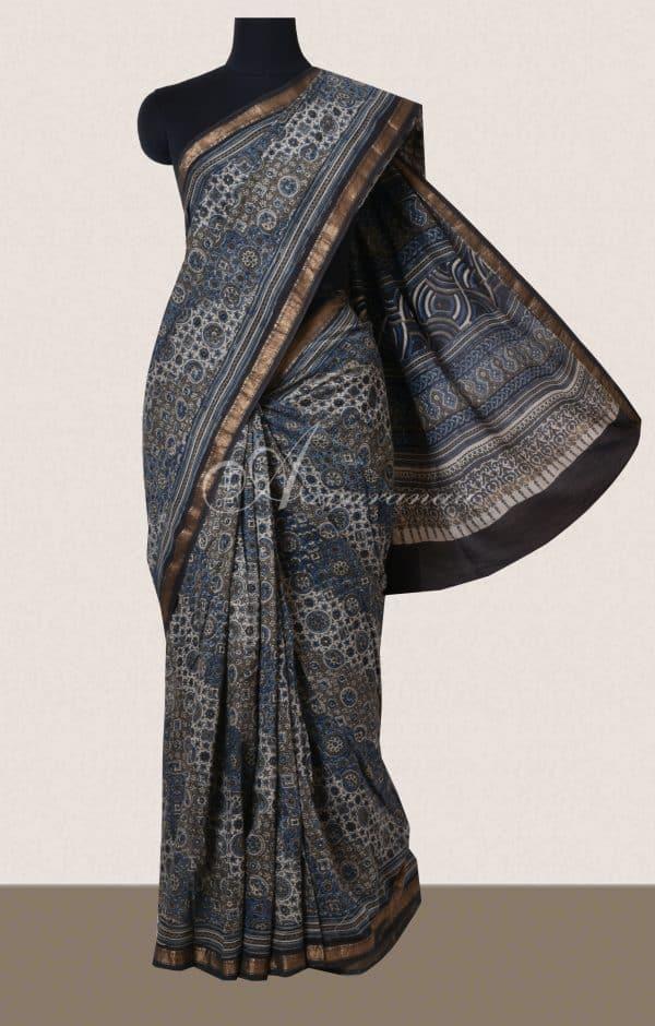 Grey ajrak printed cotton saree-0