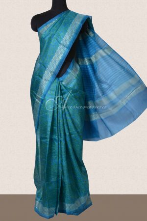 Blue and green silk kota saree-0
