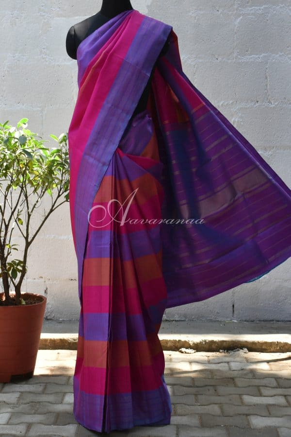 Multi colour panel silk saree-0