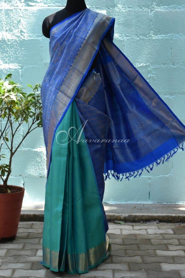 Bue and teal half and half kanchi silk saree-0