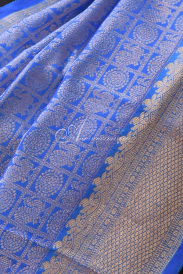 Bue and teal half and half kanchi silk saree-19623