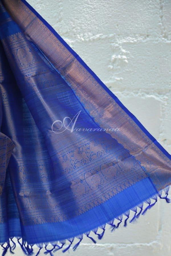 Bue and teal half and half kanchi silk saree-19625