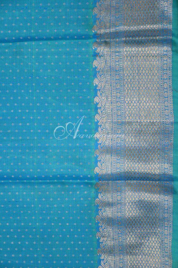 Bue and teal half and half kanchi silk saree-19624