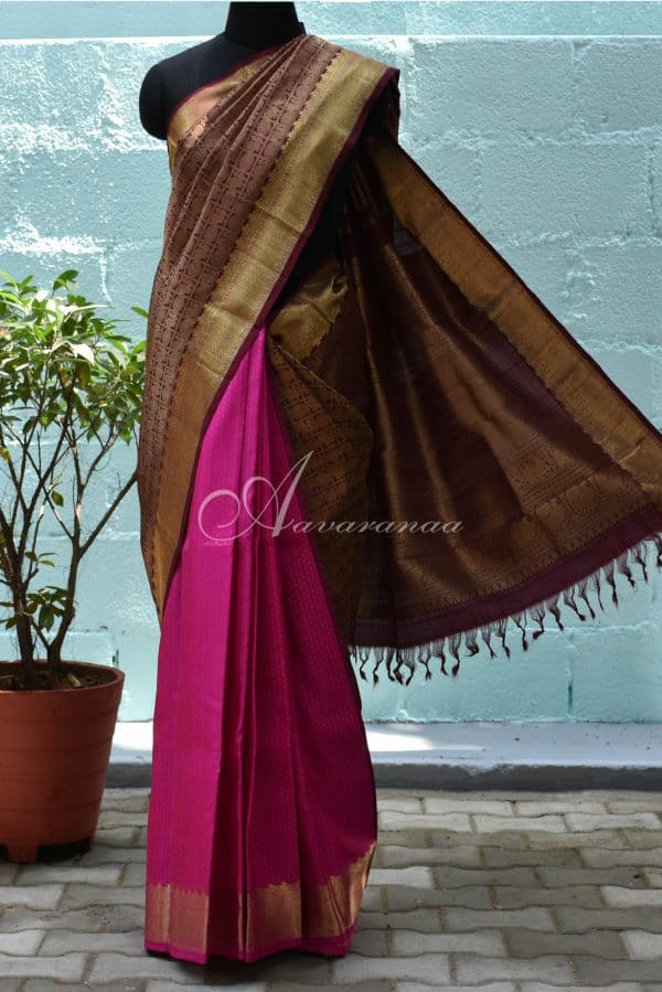 Brown with pink half and half rich silk saree-0