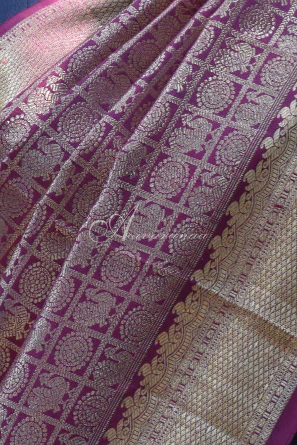 Brown with pink half and half rich silk saree-19730
