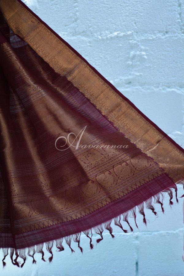Brown with pink half and half rich silk saree-19732