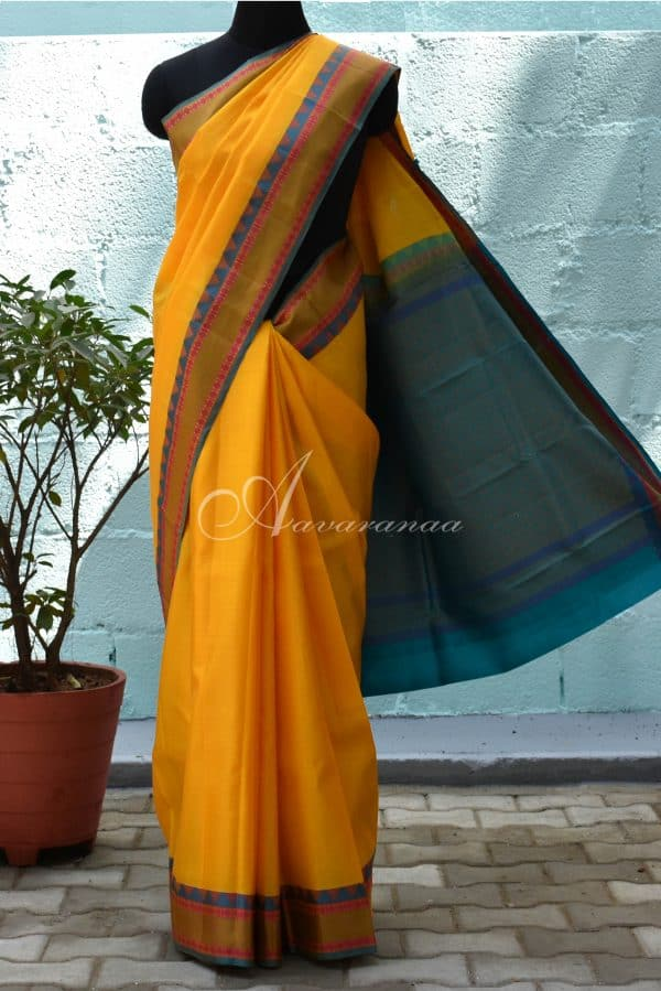 Yellow and green soft silk saree-0