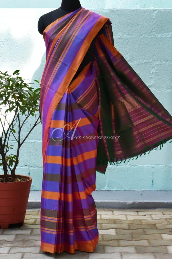 Purple multicolour kanchipuram silk saree-0