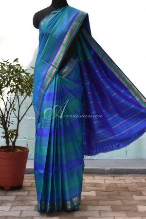 Blue panel kanchipuram silk saree-0