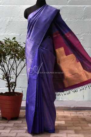 Blue half and half kancheepuram saree -0