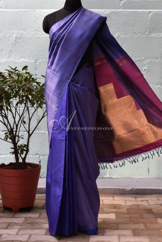 Blue half and half kancheepuram saree -0