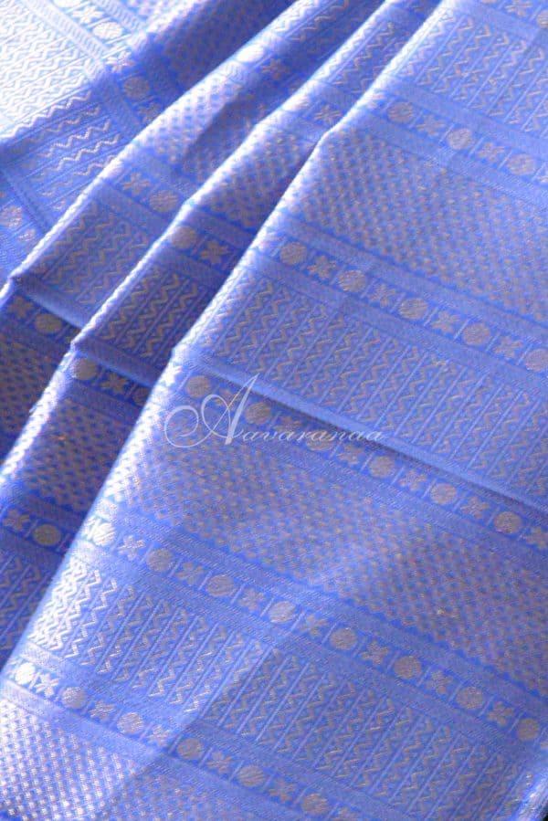 Blue half and half kancheepuram saree -19708