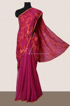 Pink embriodered chiffon saree-0