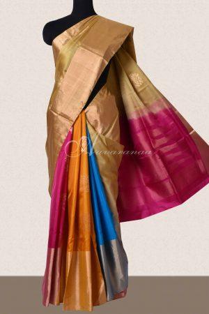Beige soft silk with multicolour partly pallu saree-0