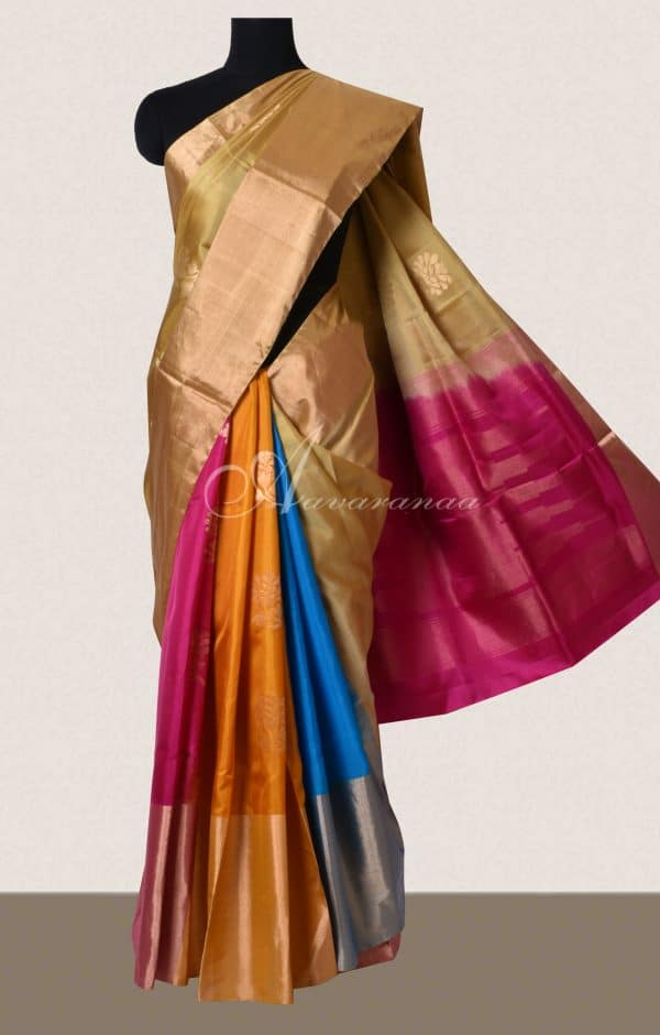 Beige soft silk with multicolour partly pallu saree-0