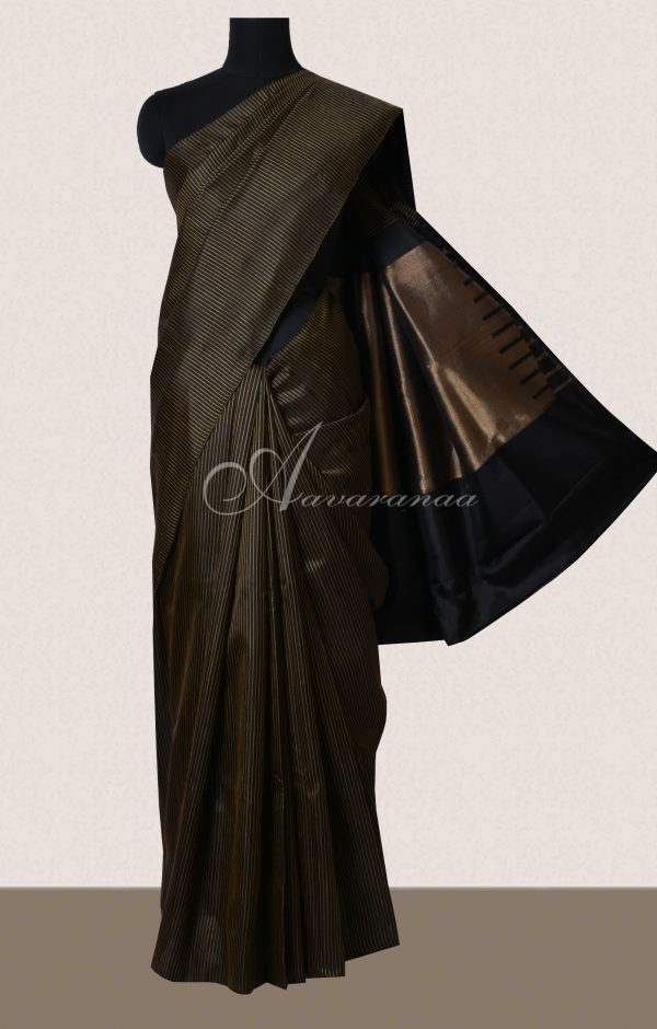 Black woven stripes soft silk saree-0