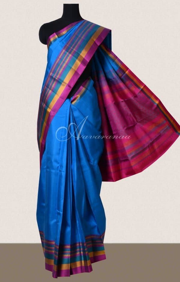 Blue with multi-color border soft silk saree-0