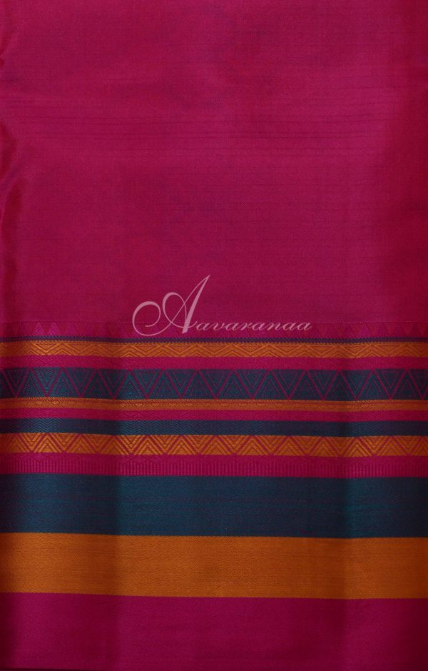 Blue with multi-color border soft silk saree-19806