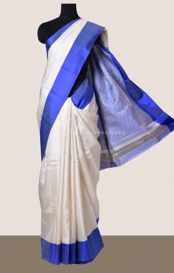 Off white and Ms blue soft silk saree-0