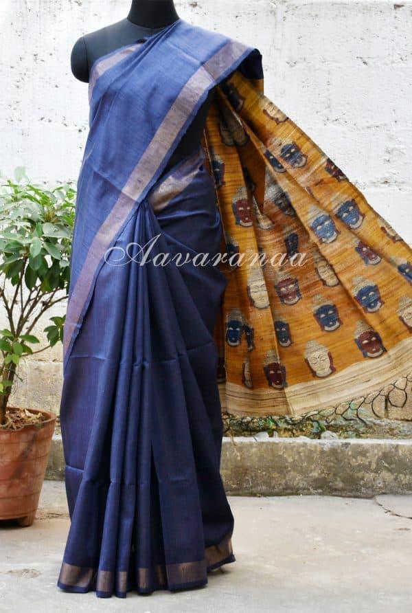 Indigo blue tussar saree with Kalamkari pallu.-0