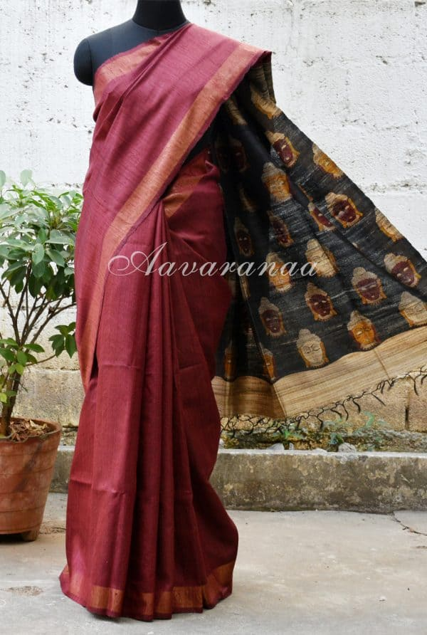 Maroon tussar saree with Kalamkari pallu-0