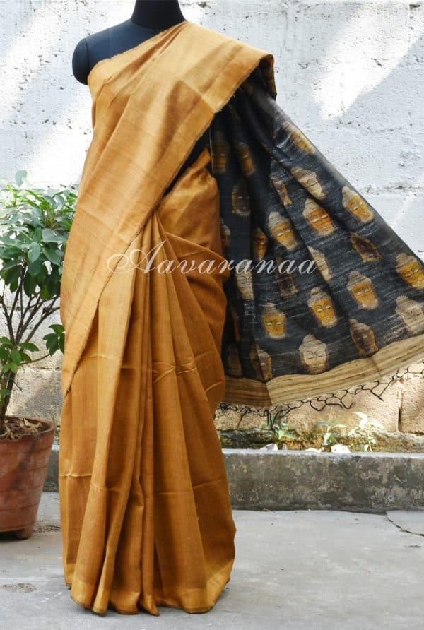 Mustard tussar saree with Kalamkari pallu-0