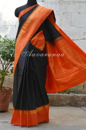 Black and Orange kanchi silk saree-0