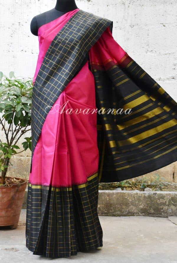 Pink and black checks long border silk saree-0