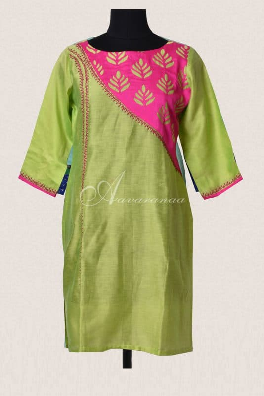 Green and pink chanderi kurta-0