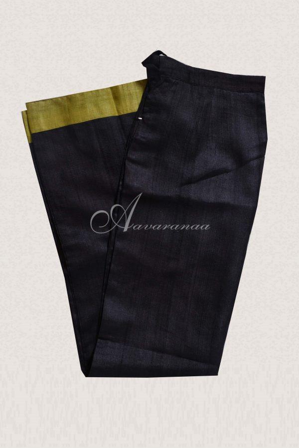 Green and black tussar pant set-19862