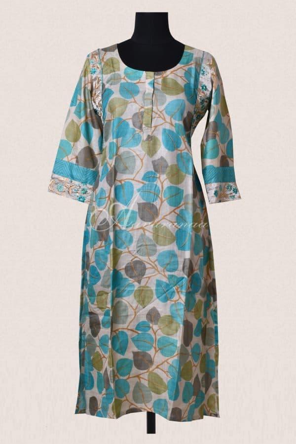 Blue block printed tussar pant set-0