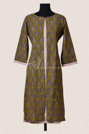Green and beige layered cotton kurta-0