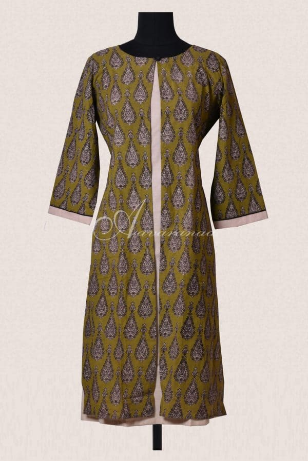 Green and beige layered cotton kurta-0