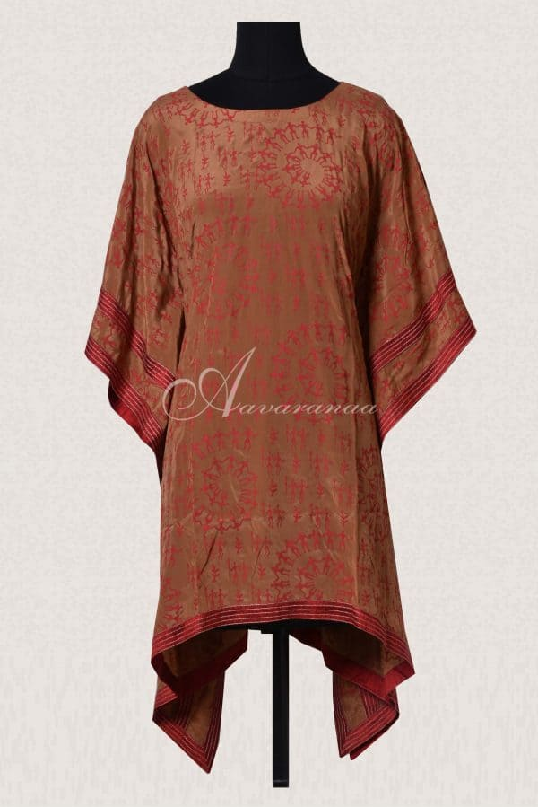 Brown printed kaftan-0