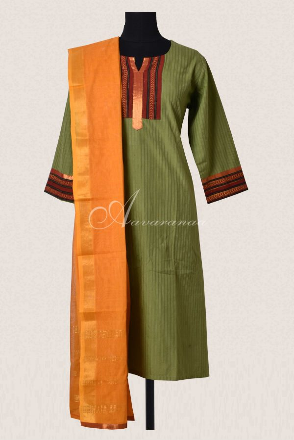 Green cotton top and dupatta-0