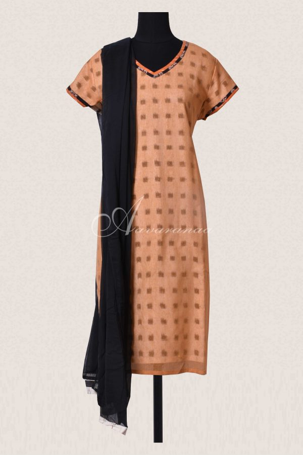 Brown super net with ikat cotton linning top -0