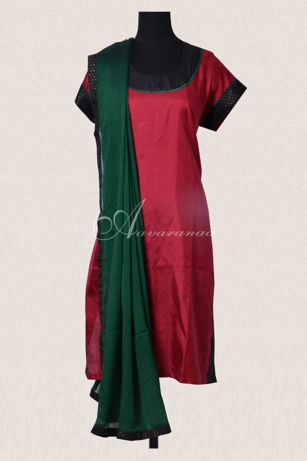Red silk top and dupatta-0